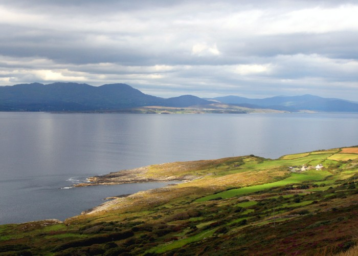 """Sheepshead Peninsula, View to Beara, West Coast of Ireland, with remote farmhouse"""